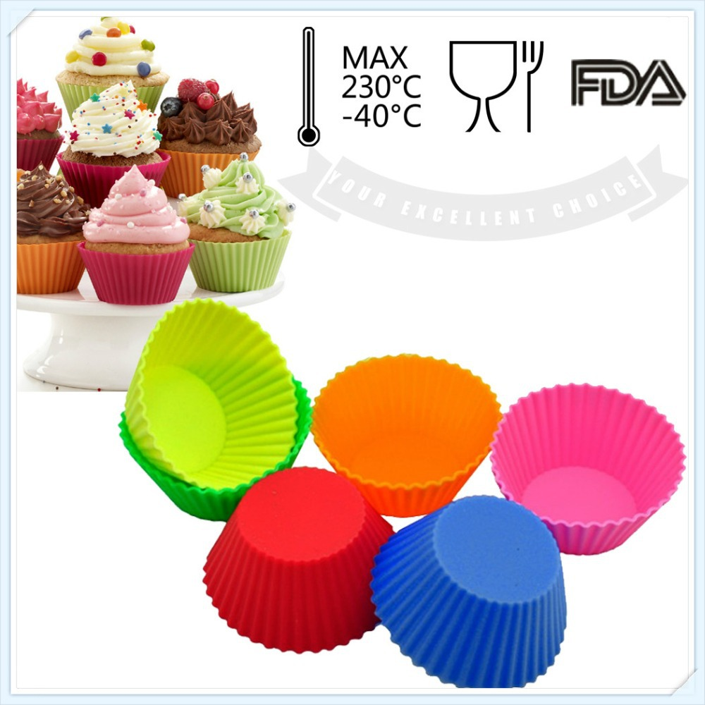 10pcs/1lot Round shape Silicone Cake Cupcake Muffin Mold Mould Bakeware Maker Mold Tray Baking Cup Liner Baking Molds