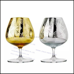 short stem silver gold electroplated wine glass