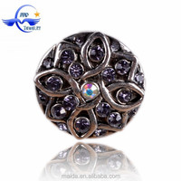 hot sell delicate crystal diamond metal snap charm for jewelry NBC032