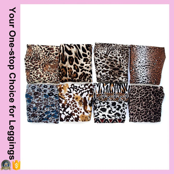 2016 Leopard Prints One-Side Brushed Milk Silk Regular Leggings