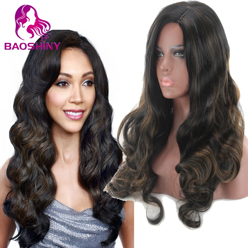 Long Wavy Hair <strong>Wig</strong> Mixed Color Brown <strong>Synthetic</strong> <strong>Wigs</strong> For Black Women Heat Resistant Fiber <strong>Wig</strong>