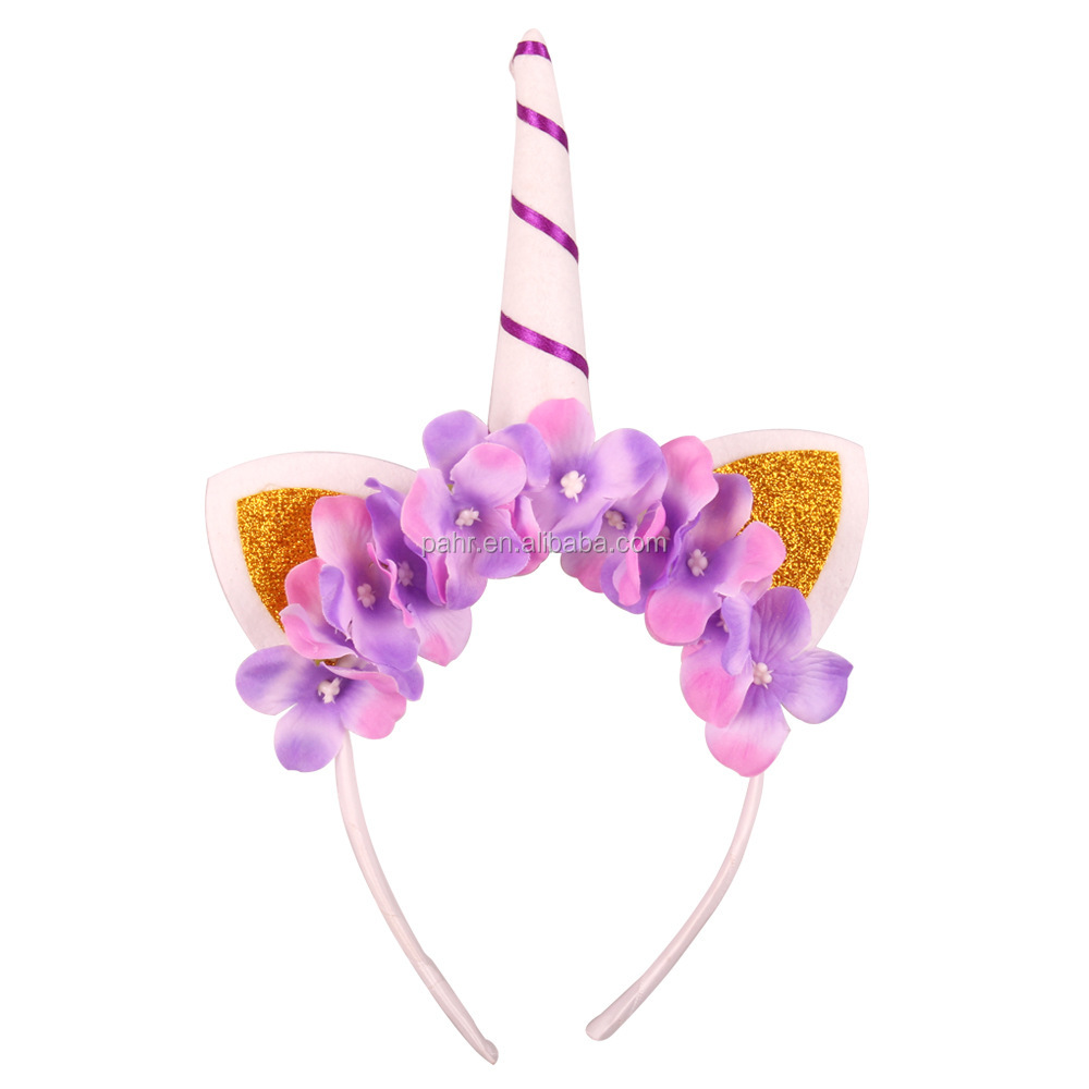 Baby Elastic Glitter Unicorn Horn Headband Children Party Supplies GOLD Normal
