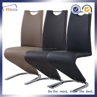 Famous design black leather Z shape dining chair