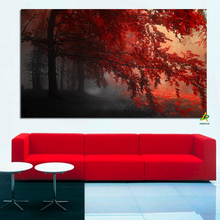Supply For Wish Fairy forest Dark Red Landscape canvas print painting in the Morning