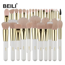 BEILI Neue Ankunft 30 pcs Weiß Gold Kosmetik Pinsel Rosa Synthetische Haar Foundation <span class=keywords><strong>Wimpern</strong></span> Blending Make-Up Pinsel Set