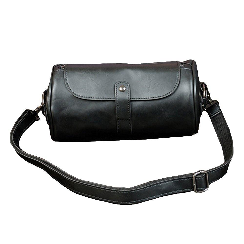 Youngage Man's Stylish Pu Leather Shoulder Bag Retro Round Bucket Sports Messenger Bag Black
