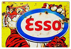 Distressed ESSO Tiger Motor Oil Reproduction Sign 12x18.