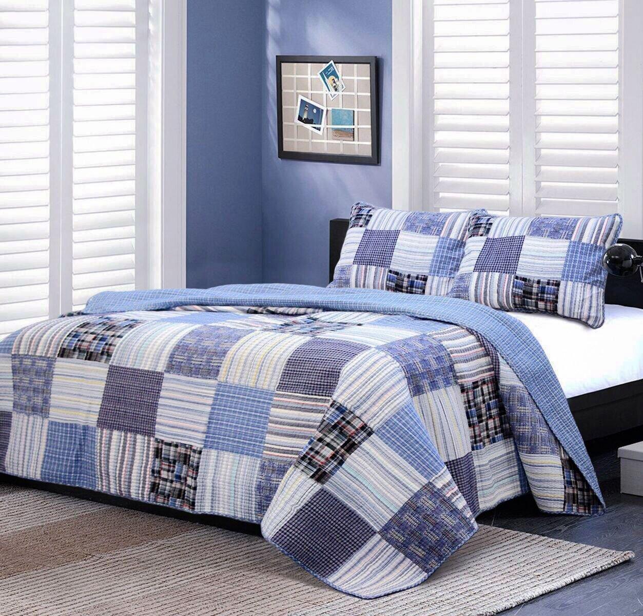 Cozy Line Home Fashions Daniel Denim Navy/Blue/White/Black Plaid Striped Patchwork Cotton Quilt Bedding Set, Reversible Coverlet,Bedspread Gifts for Boy/Men/Him (Denim Patchwork, Queen -3 piece)