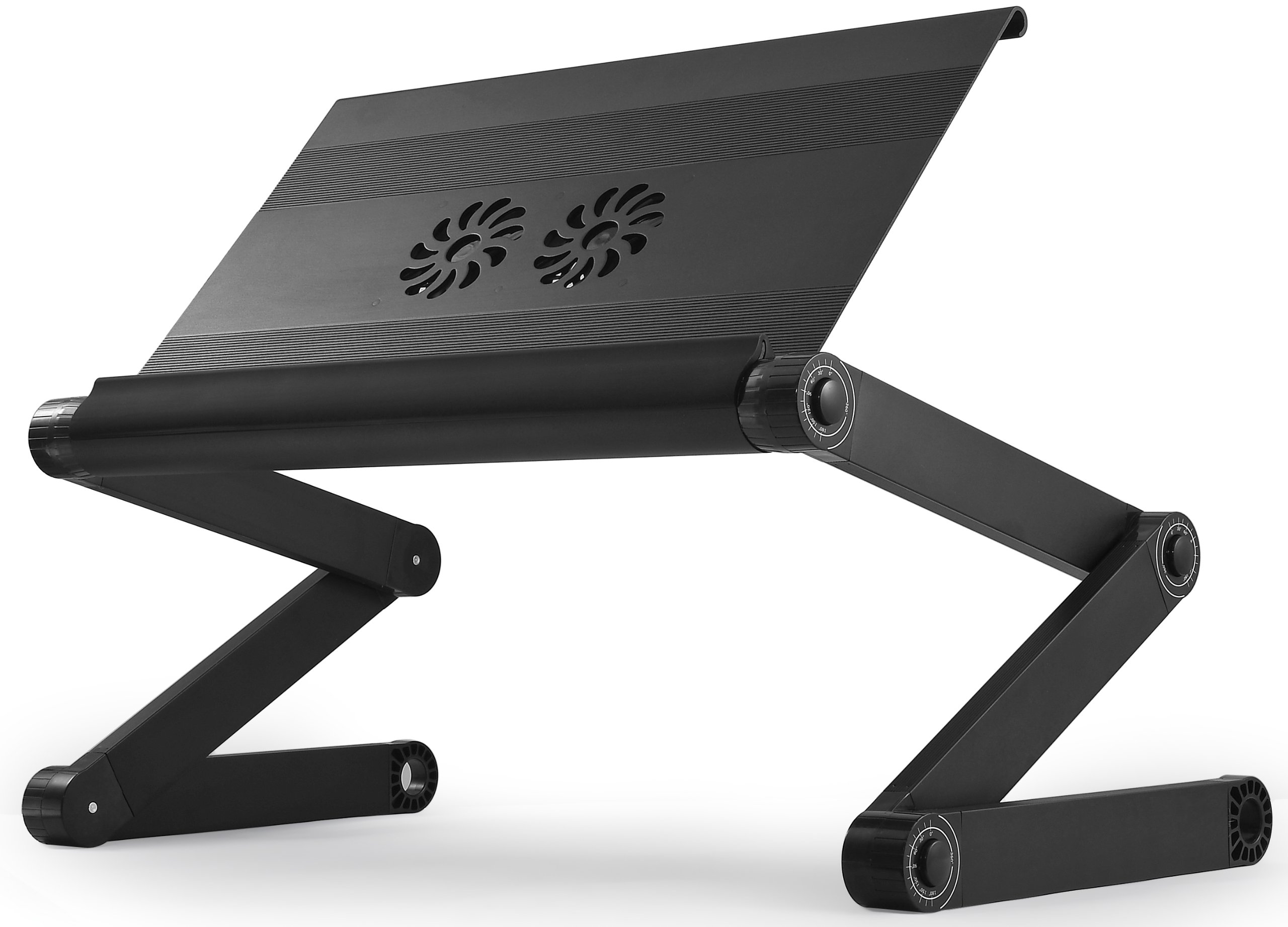 WorkEZ Executive Multifunctional Ergonomic Laptop Stand, Lap Desk For Bed & Couch, Folding Adjustable Height & Angle Notebook Riser 2 Fans 3 USB Ports