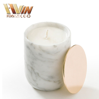 Wholesale White Stone Candle Holder/Marble Candle Jar With Copper Lid/Candle Stand Wedding