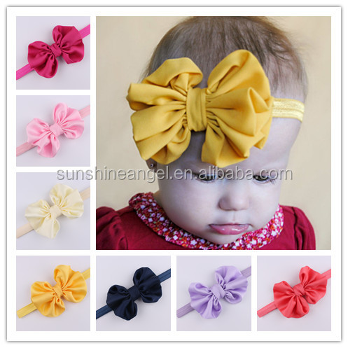 Wholesale 10 colors Satin Chiffon Bow Infant Baby Headband 2016