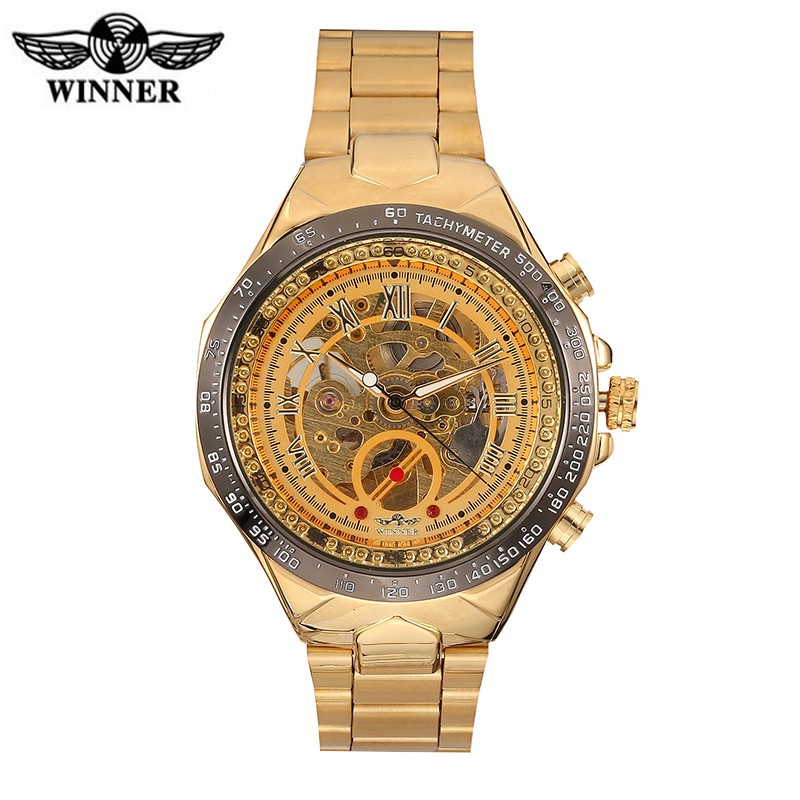 Winner Watch brand luxury stainless steel strap automatic self wind analog watch skeleton fashion sports gold mechanical watch