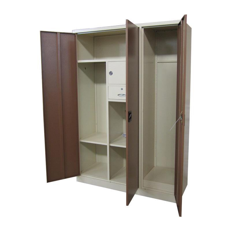 3 Door Steel Almirah Cabinet Hanging Clothes