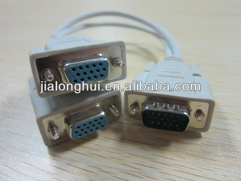 Y Splitter Cable VGA/SVGA 1 computer to 2 Monitors cables
