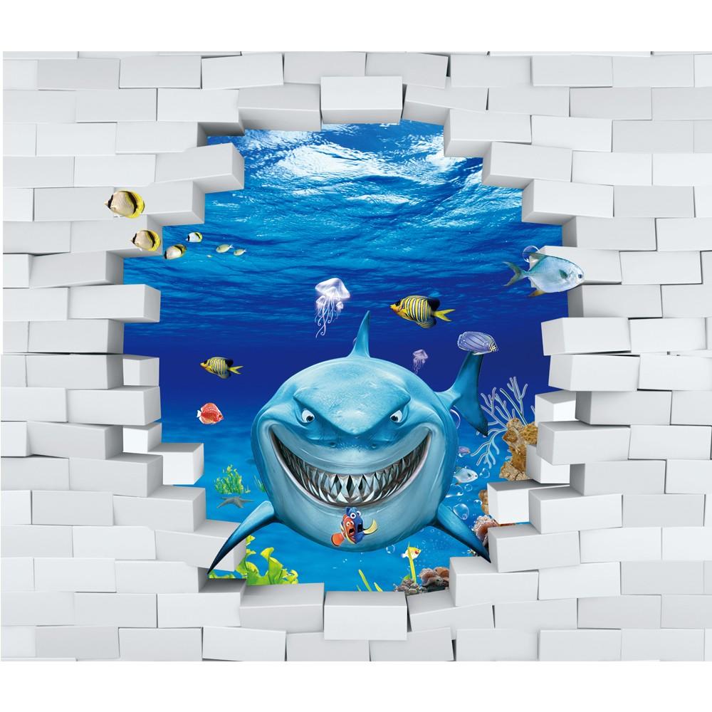 3dサメ魚キッズ壁紙cermin Kertas Dinding壁紙子供の寝室子供漫画の