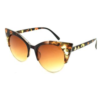 cf7c35835e35 leopard print semi rimless half frame 2018 new women cateye cat eye  sunglasses