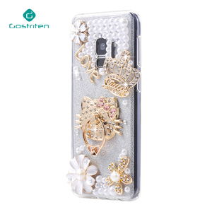 Pearl case with ring buckle Luxury DIY Rhinestone Case Cover for Huawei P10 P10 Plus P9 Lite P8 mate 9 Honor 8