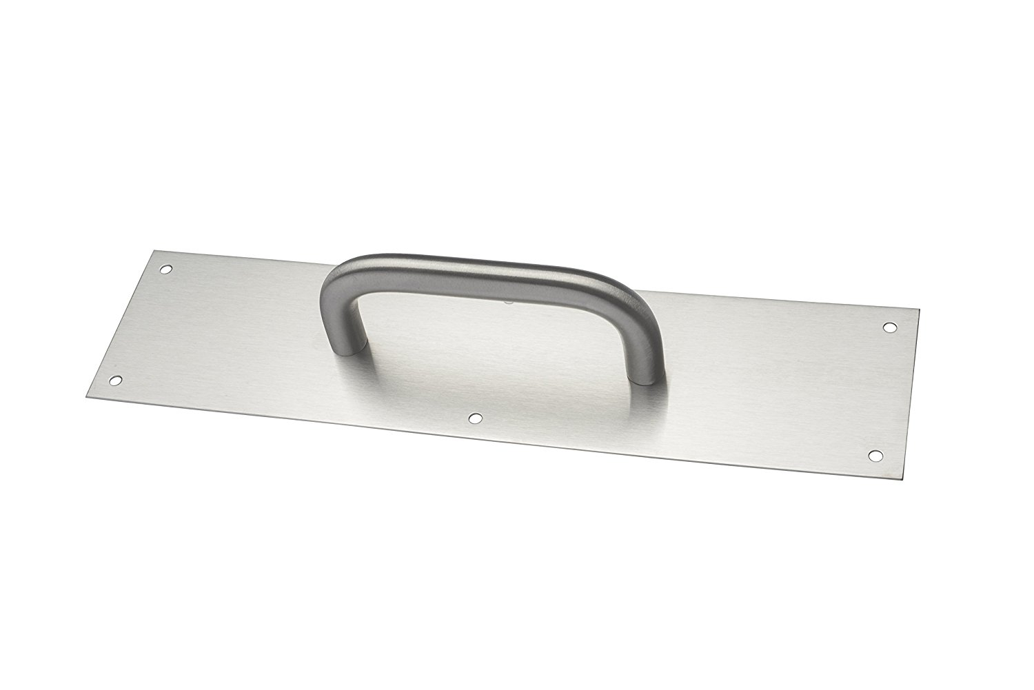 "Rockwood BF107 x 70A.32D Stainless Steel Pull Plate, 12"" Height x 3"" Width x 0.050"" Thick, 8"" Center-to-Center Handle Length, 3/4"" Handle Diameter, 2-1/2"" Barrier-Free Clearance, Satin Finish"
