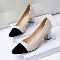 W92582A 2016 women shoes ladies office wear dress shoes middle heel pump shoes for women