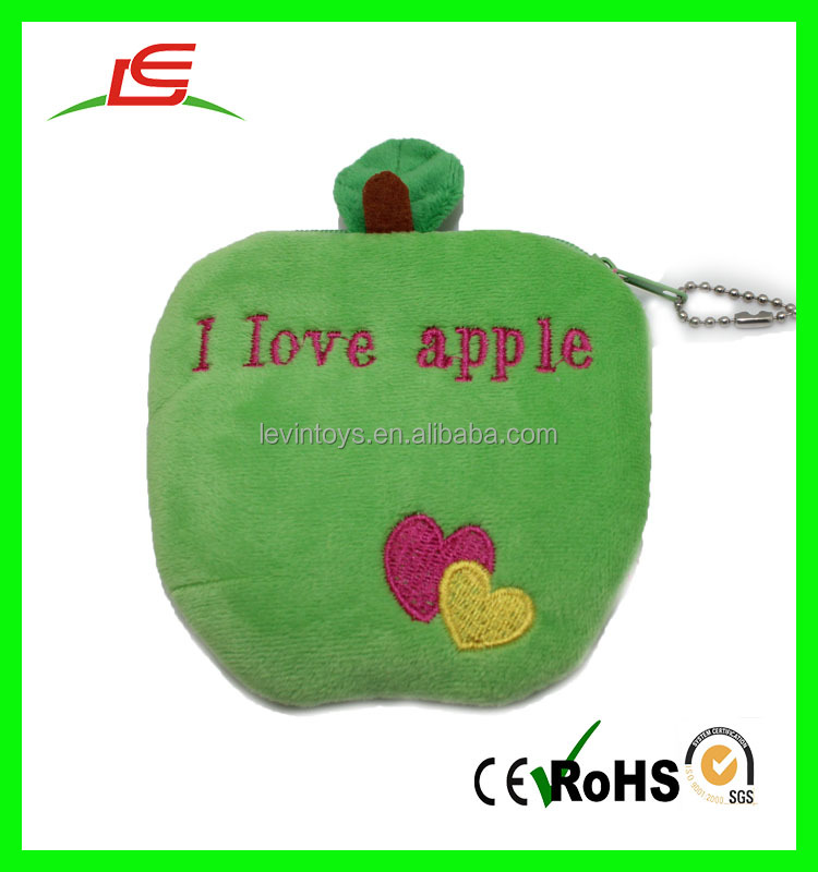 Wholesale custom cheap plush soft apple coin purse wallet with clasp