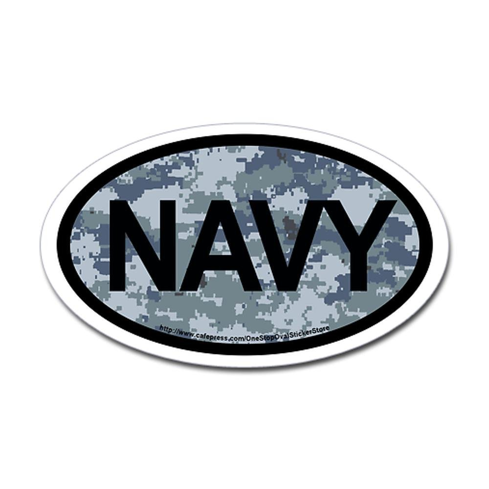 CafePress - US Navy Camo Oval Sticker - Oval Bumper Sticker, Euro Oval Car Decal
