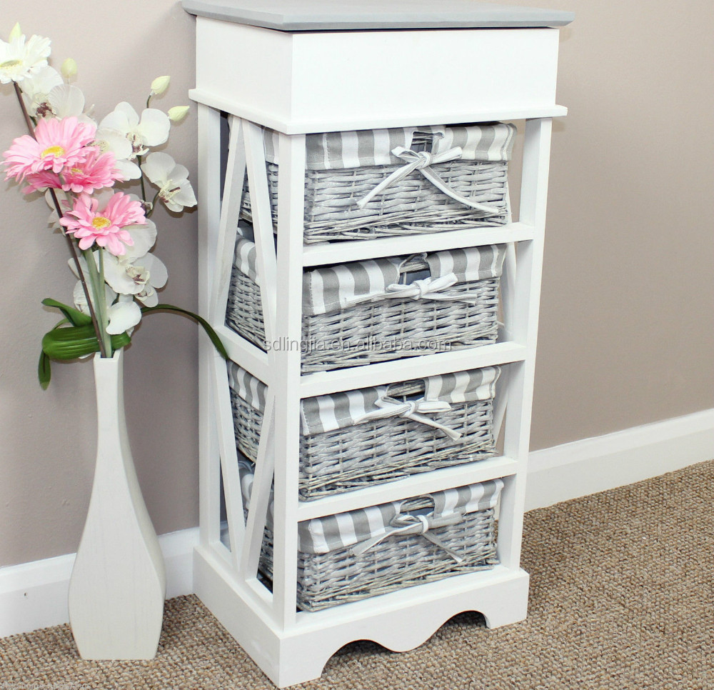 Very Fashion White Grey Drawer Wicker Basket Wood Chest Display Cabinet  IU54