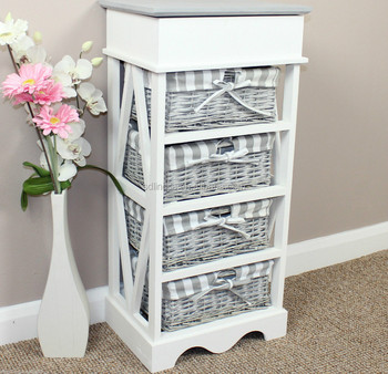 Fashion White Grey Drawer Wicker Basket Wood Chest Display Cabinet