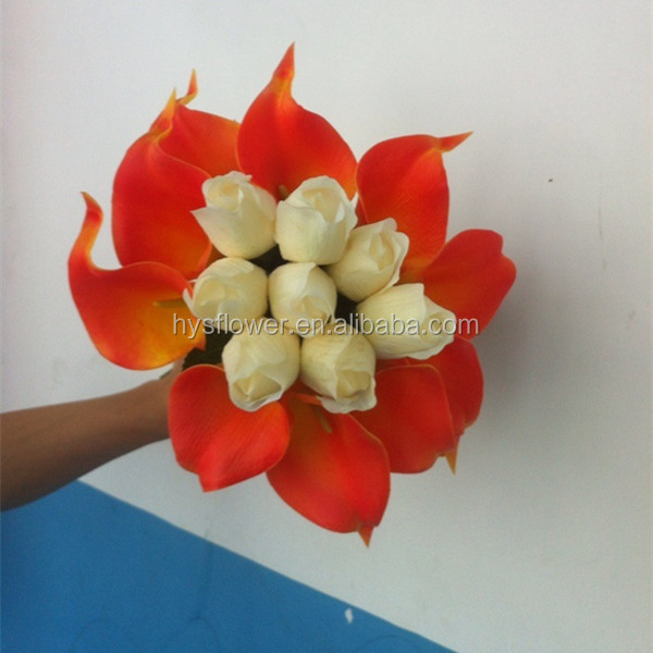 Silk Tulip And Calla Lily Flower Bouquet For Wedding Decoration ...