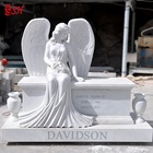 Headstone Tombstone Marble And G603 Granite Headstone With Angel Statue Carved Tombstone