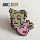 Pinsback black nickel metal material pins enamel factory price enamel pin with butterfly clutch as souvenir custom lapel pin