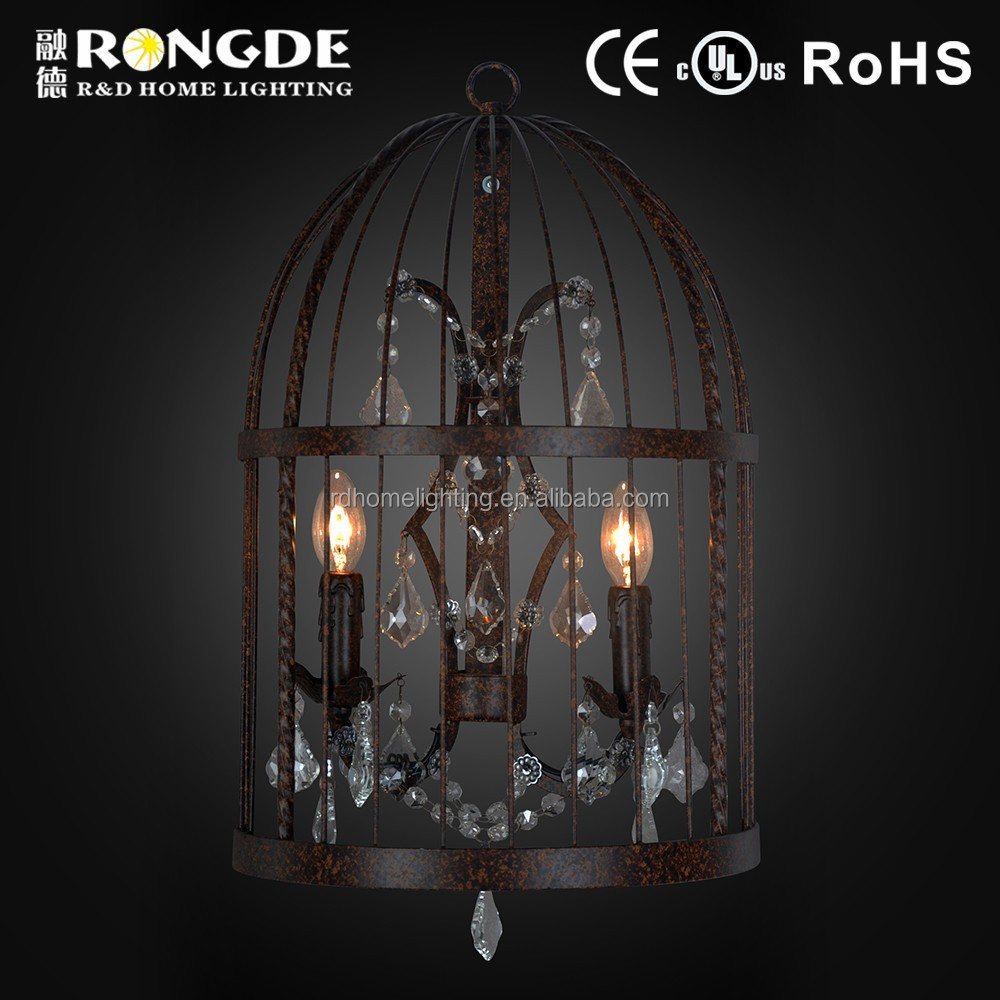Home Decoration bird cage iron wall lamp sconce with crystal