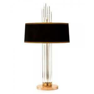 Small MOQ Thailand Modern Unique Design Decorative Metal Base Graduating Crystal Table Lamp With Black Floating Shade