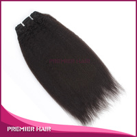Premier Hair 100% Natural Color Indian Remy Hair machine made weft Italian Yaki machine weft