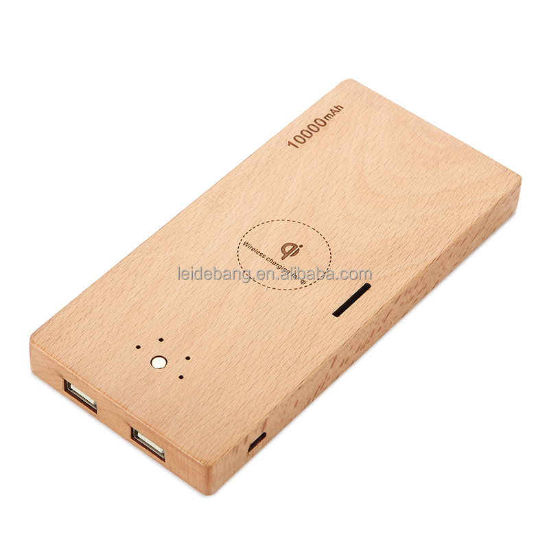 New Products Super Thin mobile Wooden qi Standard Wireless Charger 10000mah with mirro