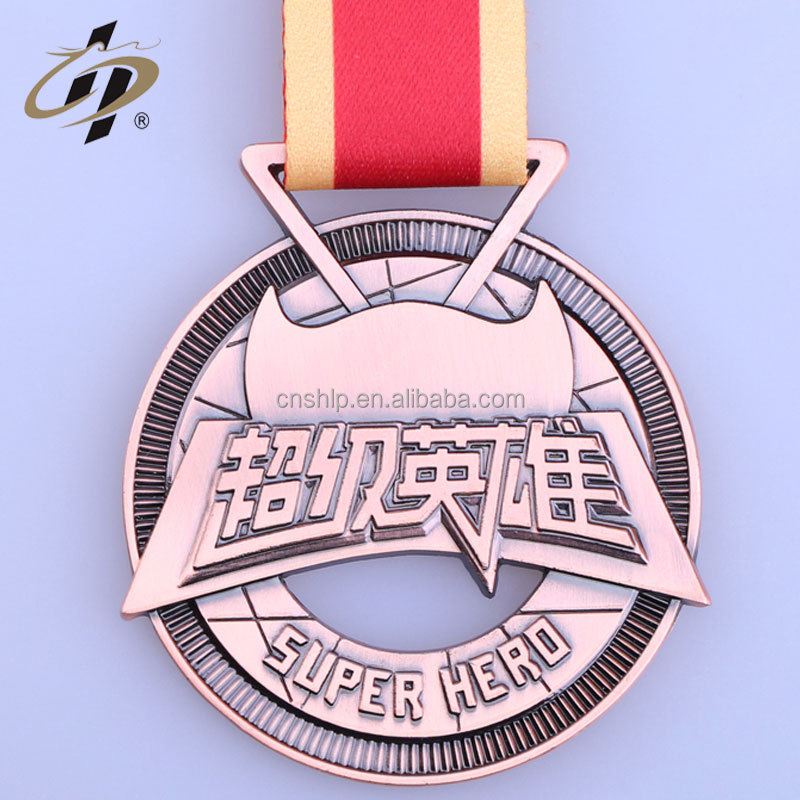 Professional supplier custom top sales super hero sports metal medal with ribbon