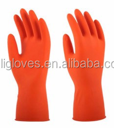 CE safety Rubber housheold hand gloves kitchen clearning with flockline latex