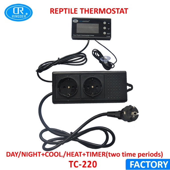 Ringder Dtc 120 230v 110v 0 50c Digital Day Night Reptile Dimming Thermostat