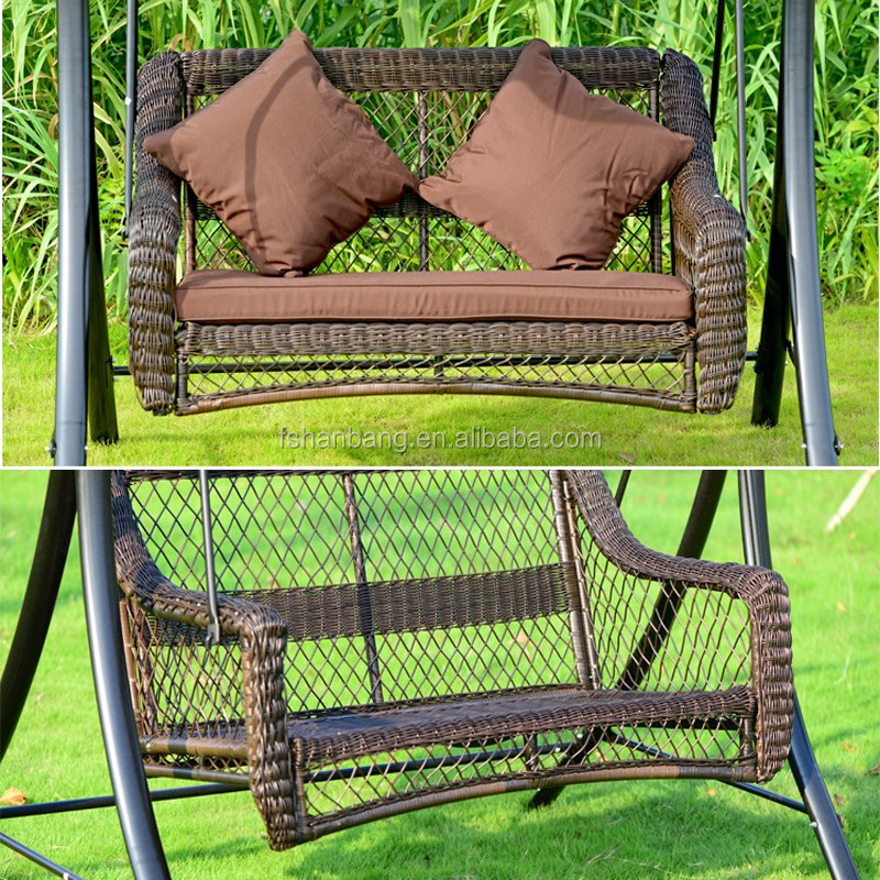 Outdoor Patio Balcony Backyard Plastic Synthetic Rattan Resin Wicker Two Seat Double Garden