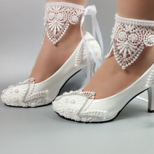 High heel lace Pearls bridesmaid actual white cheap bridal wedding shoes MSA57