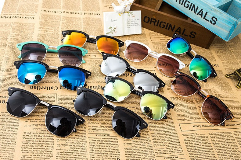 Classic Fashion Brand Sunglasses Men Women Brand Designer Half Metal Mirror Sun Glasses 2016 Gafas Oculos De Sol UV400 CC0543