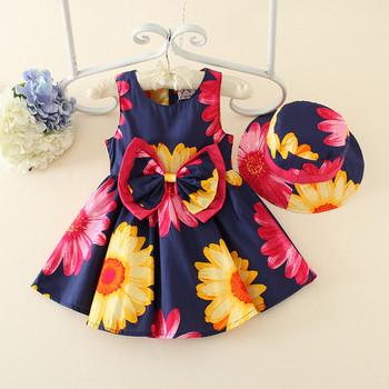 Princesa flor niña vestido de verano Casual 2017 vestidos de chica + 1  sombrero para niñas 29456e9f181