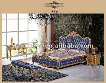 Italien Luxus Klassischen Goldene Farbe Königliche Möbel, Antike Elegante  Kingsize Bett Raum Möbel