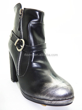 2017 black high heel womens leather boots