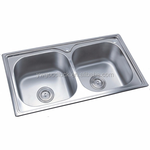 780x430x200mm 0.6mm Thickness Stainless Steel Double Bowl Above Counter  Kitchen Sink Without Faucet 8242ch - Buy Double Bowl Kitchen Sink,Double  Bowl ...