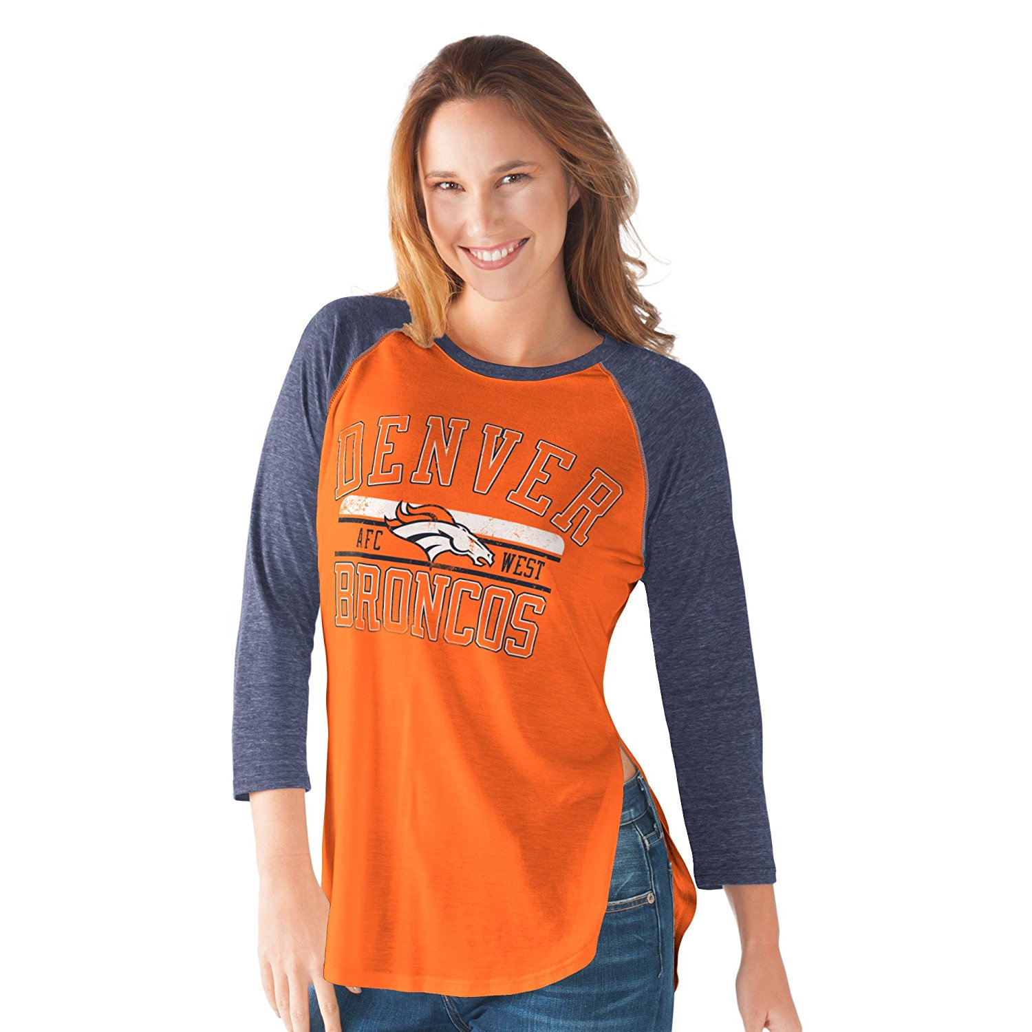 NFL Women's Hangtime Distressed Logo 3/4 Sleeve Tee (XXlarge, Denver Broncos)