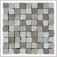 Noce with White travertine Brokwn edge Mosaic Stone Tile