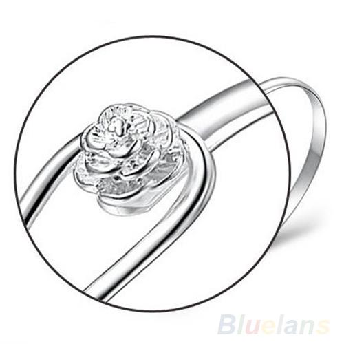 Новинка ювелирные изделия серебро простой круг цветок розы манжеты браслет 1NF3