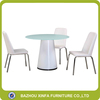 European Favor Mushroom Shape Round Dining Table With Leather Chairs