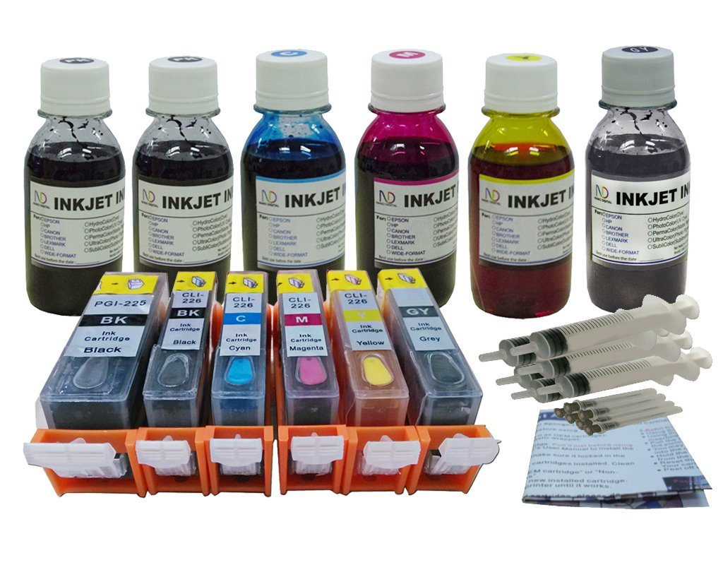 ND ™ Brand Refillable Ink Cartridges for Canon PGI-225 CLI-226 with Auto Reset Chips (ARC): Pixma MG6120 MG6220 MG8120 MG8120B MG8220.. (Pre-Filled 6 packs) + 6 Bottles 100ml ND Brand UV resistant Bulk Refill Ink+6 Syringes and detail refill instruction. The item with ND Logo!