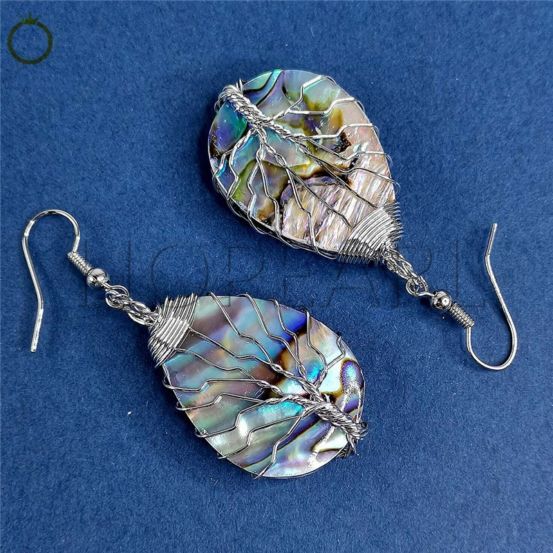 MOP225 Tree of Life Dangle Earrings Abalone Teardrop Shell Handmade Wire Wrapped Drop Earring